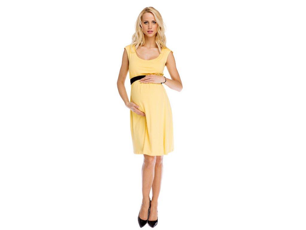 P316 Multifunkční šaty Amy pro těhotenství i kojení žluté 2