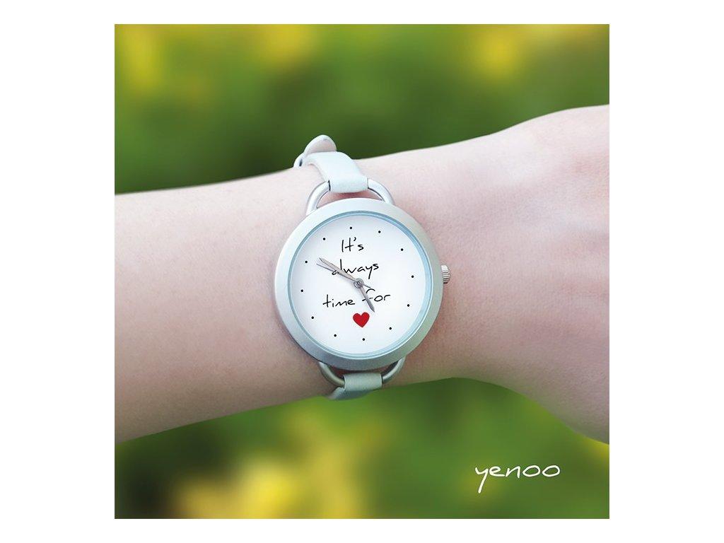 It is always time for love - Kožený pásek tenký šedý - Hodinky s grafickým designem