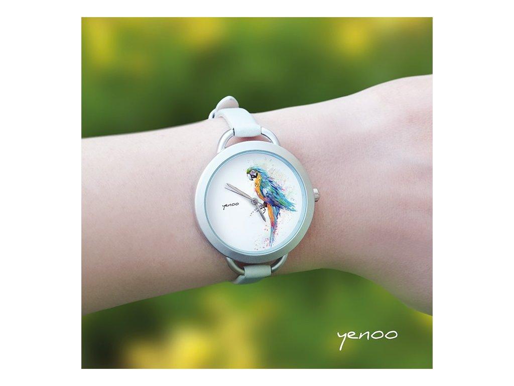 Tyrkysový papoušek - Kožený pásek tenký šedý - Hodinky s grafickým designem