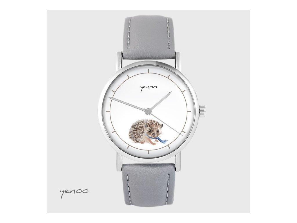 Ježeček - Kožený pásek šedý - hodinky s grafickým designem