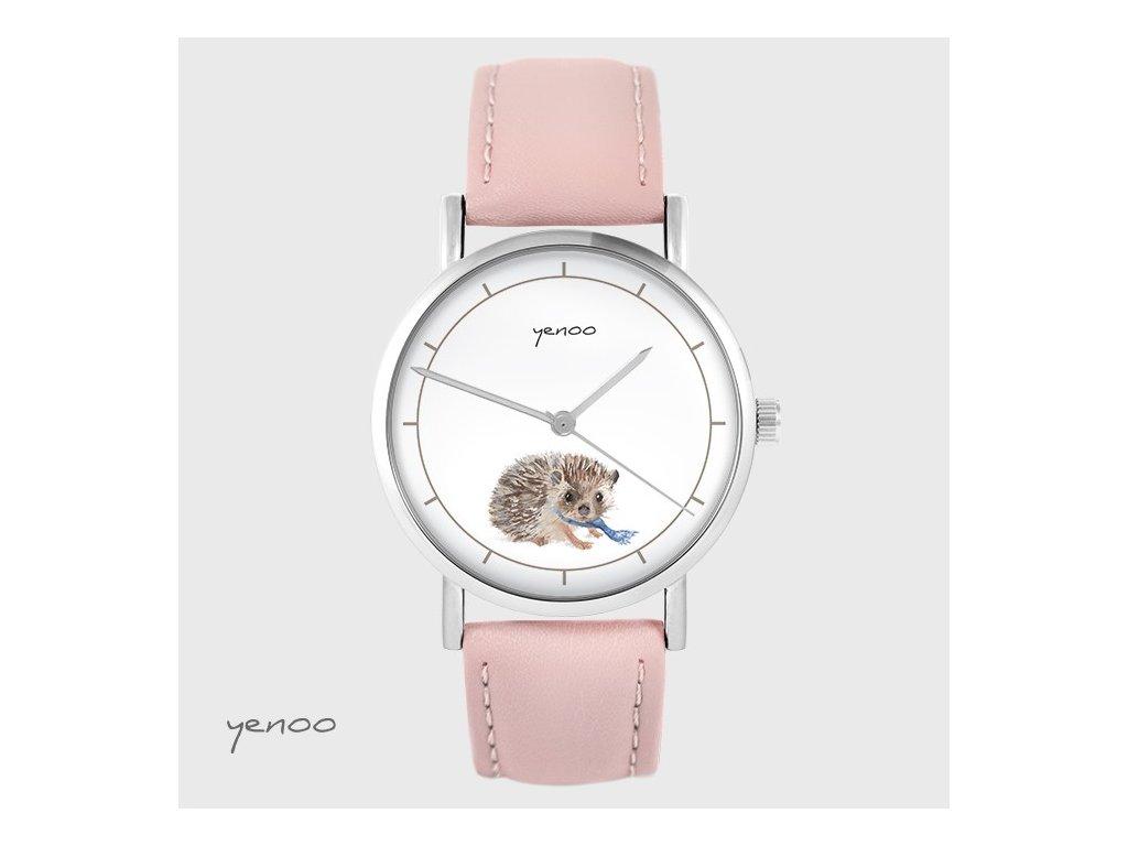 Ježeček - Kožený pásek růžový - hodinky s grafickým designem