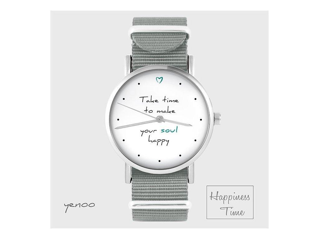 Make your soul happy - NATO pásek šedý - Hodinky s grafickým designem