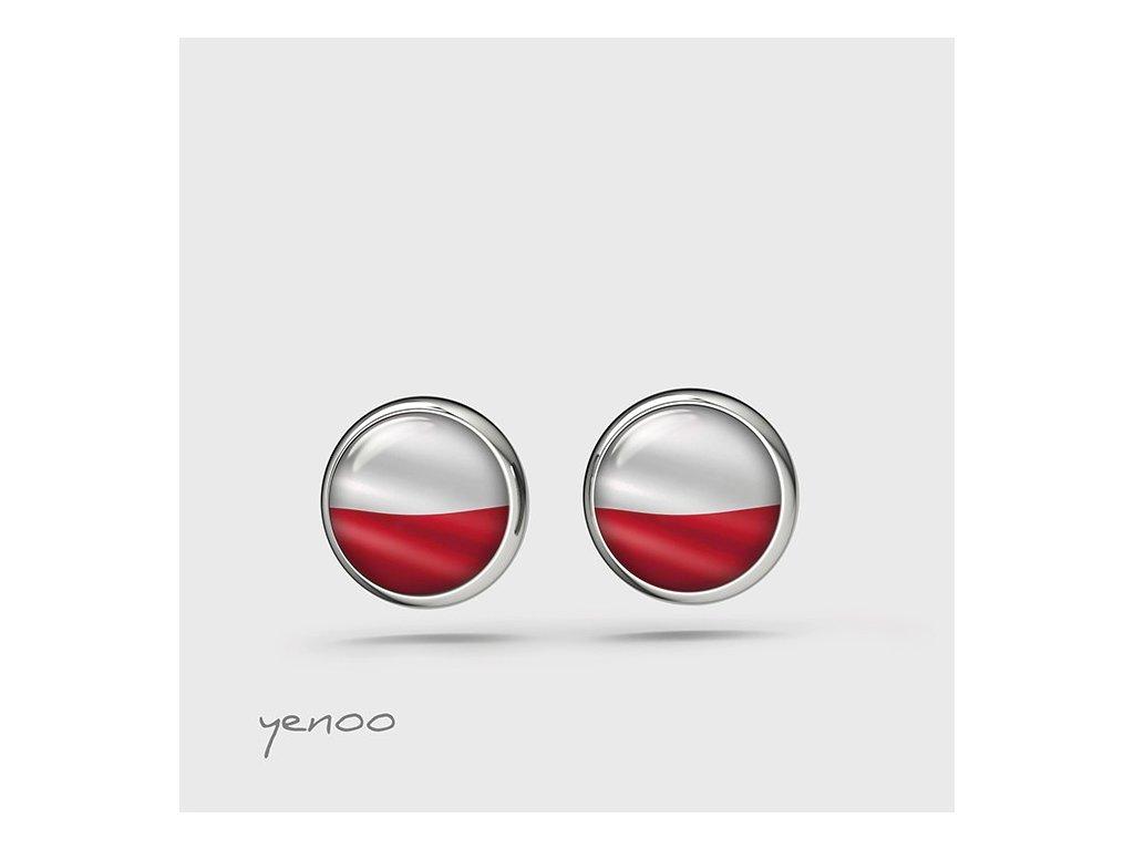 Bílo-červené - naušnice mini