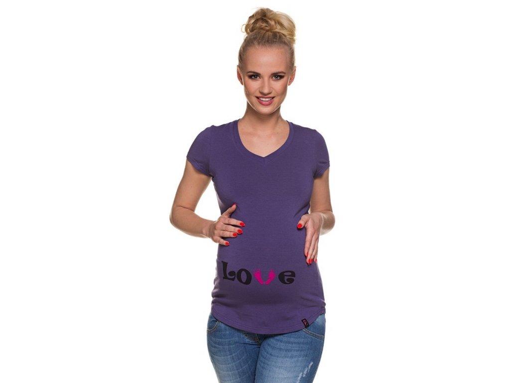 P378 Těhotenské tričko s potiskem LOVE feet fialové krátký rukáv