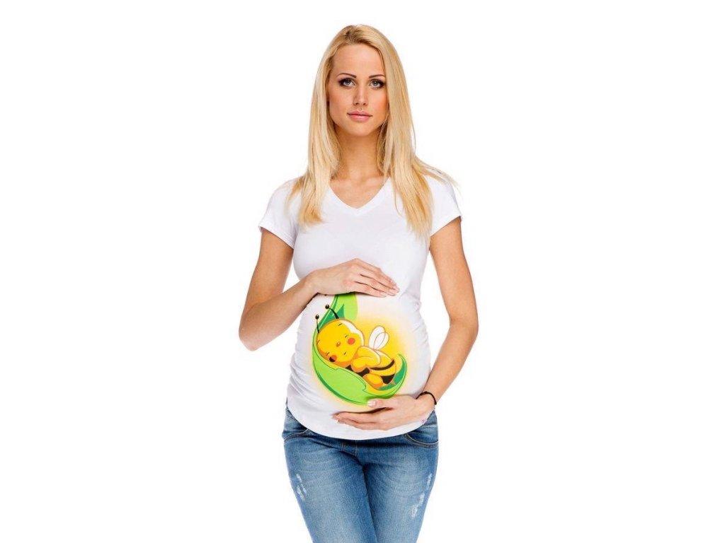 P060 Těhotenské tričko s potiskem včelička bílé
