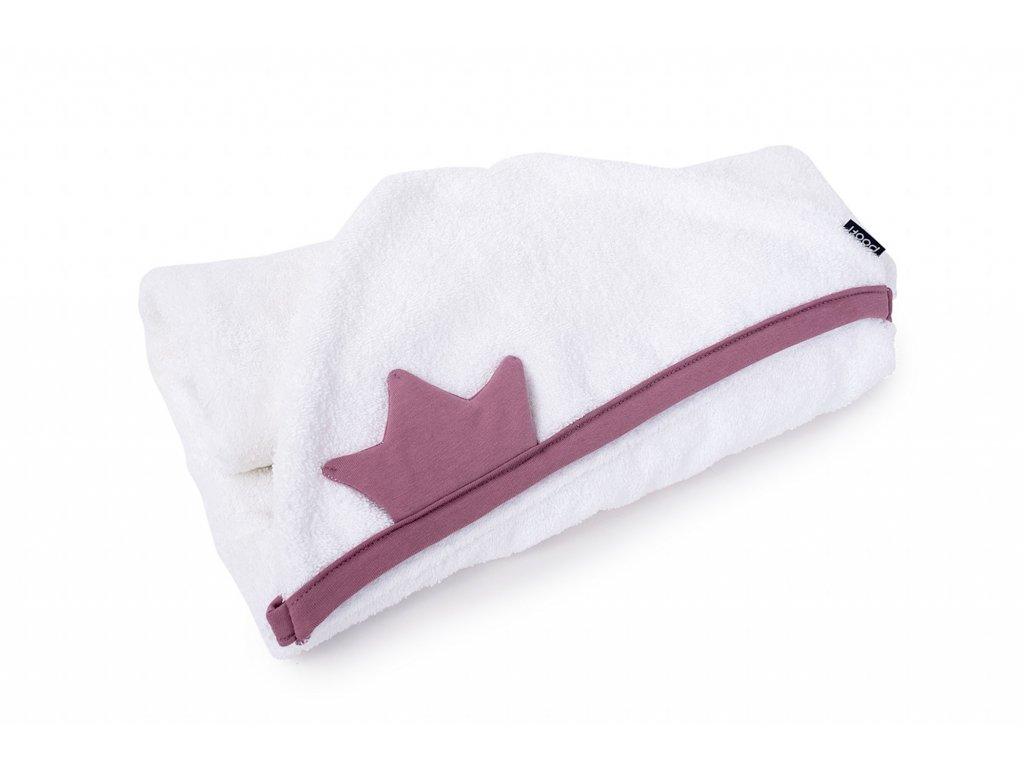 froty rucnik biobavlna pro deti i novorozence Princezna v barve Fialky s kapuci