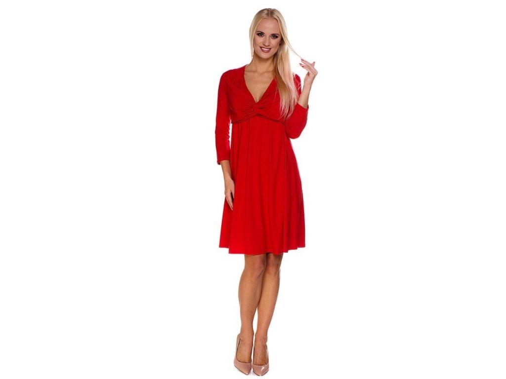 P416 Multifunkční šaty Louise červené pro těhotenství i kojení od My Tummy 1