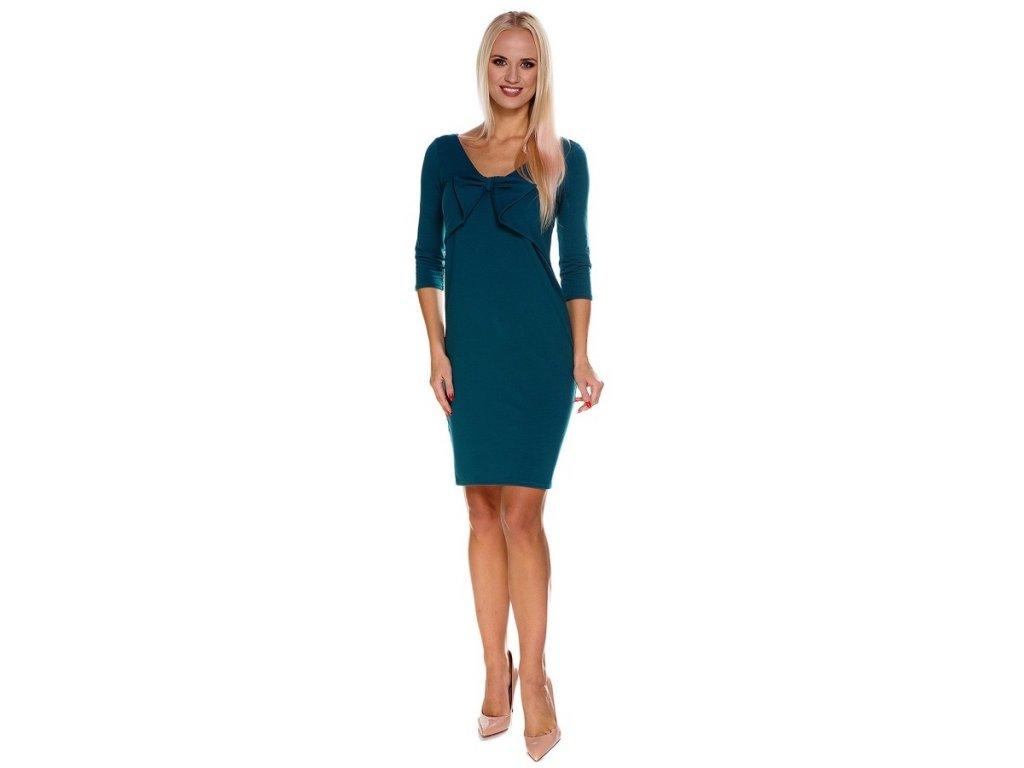 P417 Multifunkční šaty Norah tealové zelené s mašlí 1