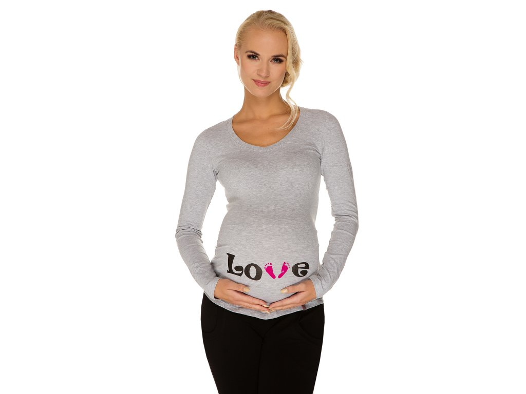 P346 Těhotenské tričko s potiskem Love šedé dlouhý rukáv