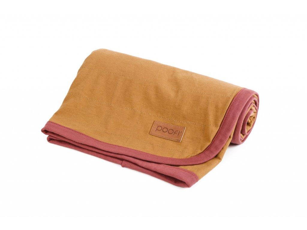 PF093 Prikryvka z organicke bavlny horcice med organicka barva cervene lemovani