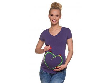 P193 Těhotenské tričko s potiskem berusky srdce krátký rukáv