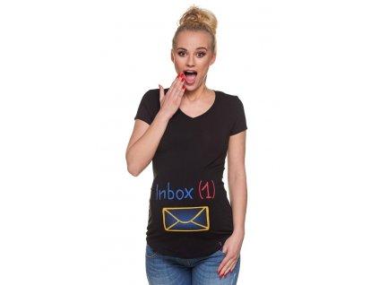P221 Těhotenské tričko s potiskem Zpráva černé krátký rukáv