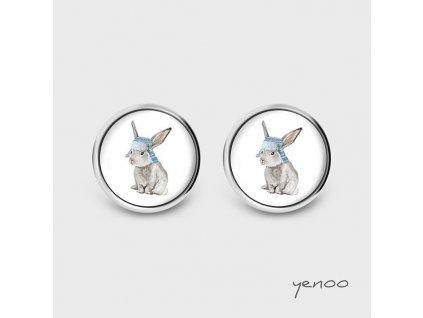 Zajíc s ušatkou - Náušnice s grafickým designem