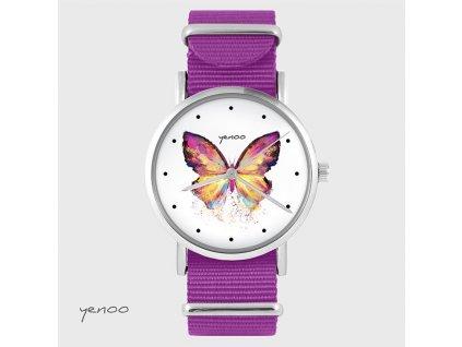 Motýl - NATO pásek amarantový - Hodinky s grafickým designem