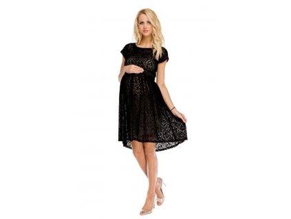 Těhotenské šaty Scarlett černo béžové krajkové 2