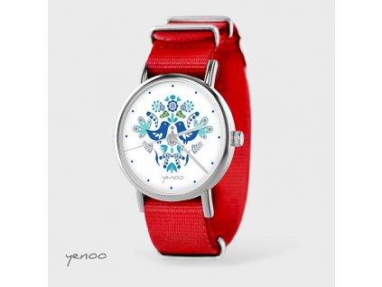 Lidoví ptáčci modří - NATO pásek červený - Hodinky s grafickým designem