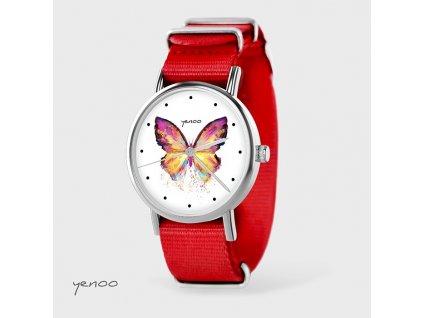 Motýl - NATO pásek červený - Hodinky s grafickým designem
