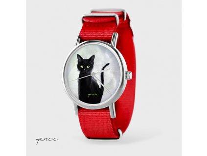 Černá kočka - NATO pásek červený - Hodinky s grafickým designem