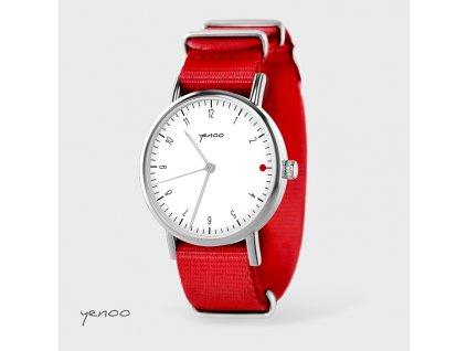 Jednoduchá elegance bílá - NATO červený - Hodinky s grafickým designem