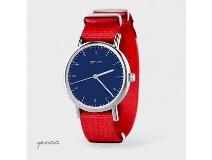 Jednoduchá elegance tmavě modrá - NATO červený - Hodinky s grafickým designem