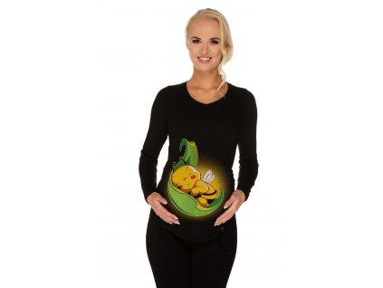 P282 Těhotenské tričko s potiskem včelička na lístku dlouhý rukáv černé výstřih do V
