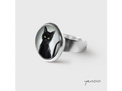 Černá kočka - Prstýnek s grafickým designem