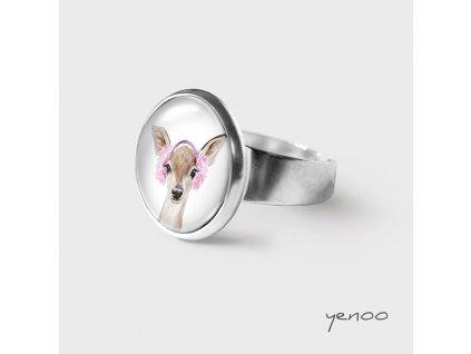 Srnka s růžovými klapkami - Prstýnek s grafickým designem