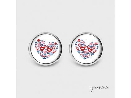 Lidové srdce ptáčci - Náušnice s grafickým designem