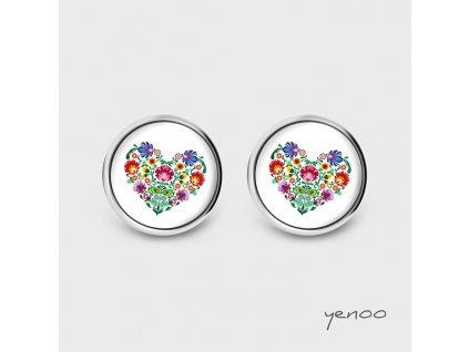 Lidové srdce - Náušnice s grafickým designem