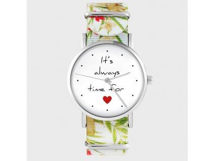 It`s always time for love - NATO pásek květovaný - Hodinky s grafickým designem