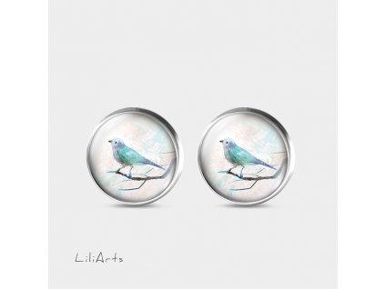 Tyrkysový ptáček - Náušnice s grafickým designem