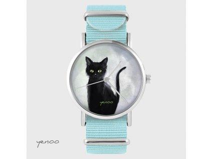 Černá kočka - NATO pásek tyrkysový - Hodinky s grafickým designem
