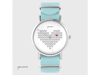 Pletené Srdce - NATO pásek tyrkysový - Hodinky s grafickým designem
