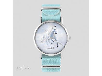 Bílý kůň - NATO pásek tyrkysový - Hodinky s grafickým designem