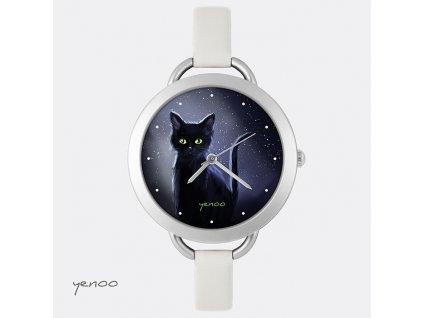 Černá Kočka noční - Kožený pásek tenký šedý - Hodinky s grafickým designem