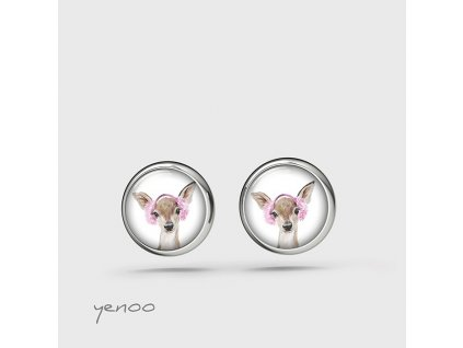 Srnka s růžovými klapkami - naušnice mini