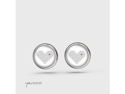 Pletené srdce - náušnice mini