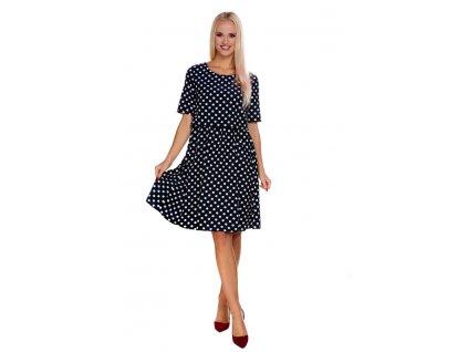 P404 Mateřské multifunkční šaty pro těhotenství kojení tmavomodré s puntíky My Tummy
