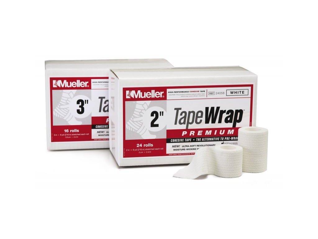 Mueller TapeWrap® Premium, před/tejpovací páska, bílá, 2,5cm x 5,4m