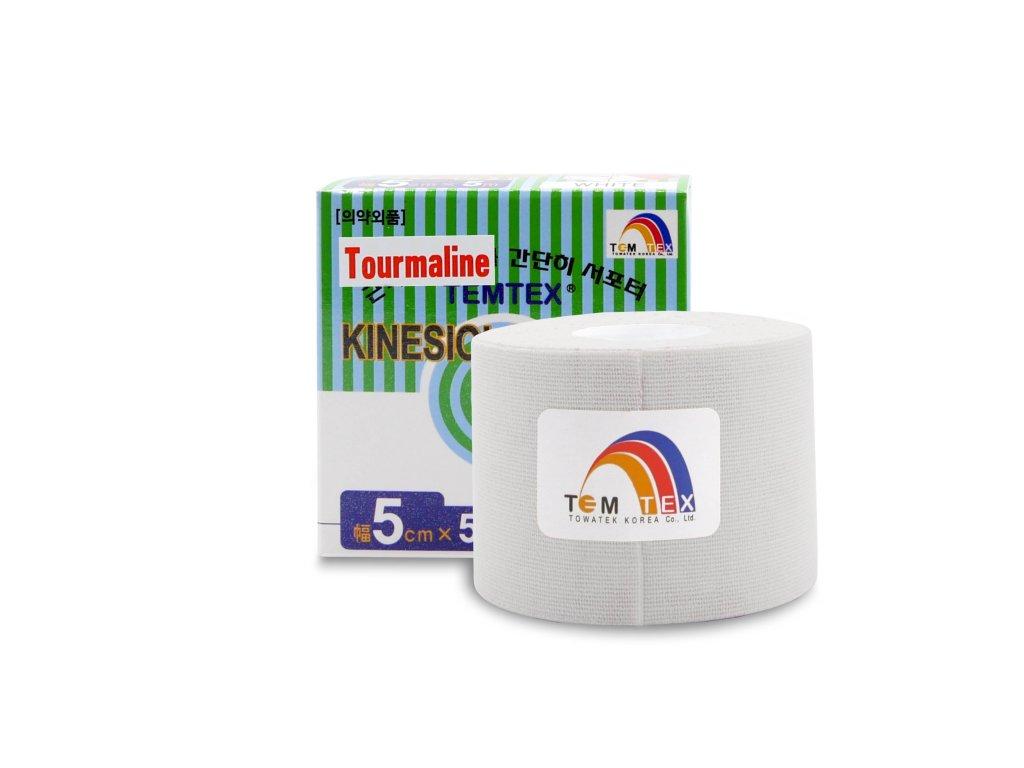 TEMTEX kinesio tape Tourmaline, bílá tejpovací páska 5cm x 5m