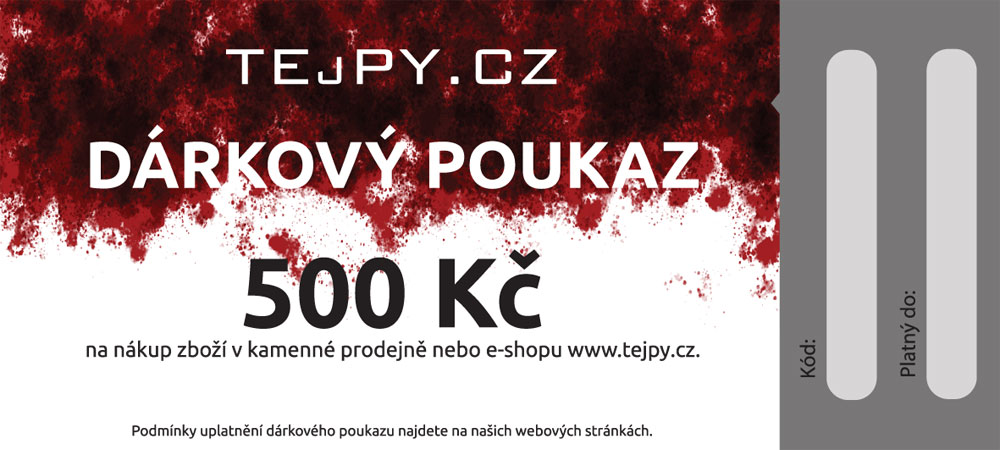 TEJPY.cz Dárkový poukaz emailem Varianta: 500 Kč