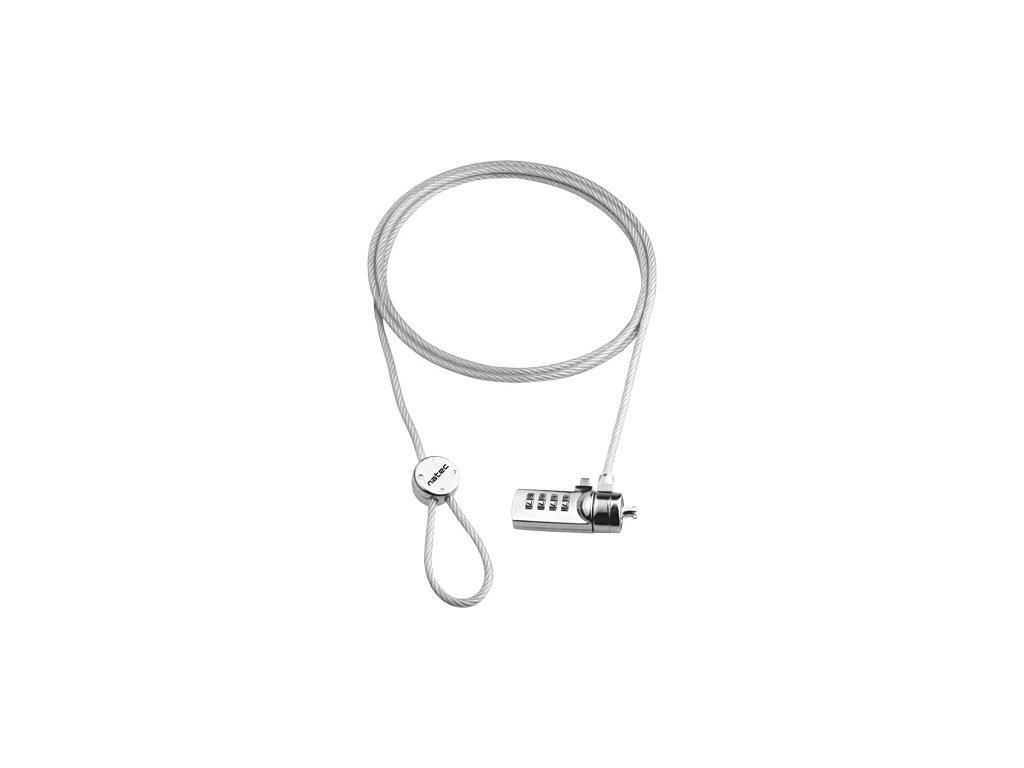 Lankový bezpečnostní zámek na kód pro notebook Natec Lobster Code