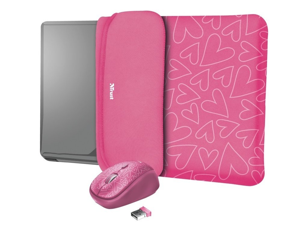 """TRUST myš + obal na notebook Yvo Reversible 15.6"""" Laptop Sleeve and Wireless Mouse - Pink Hearts"""
