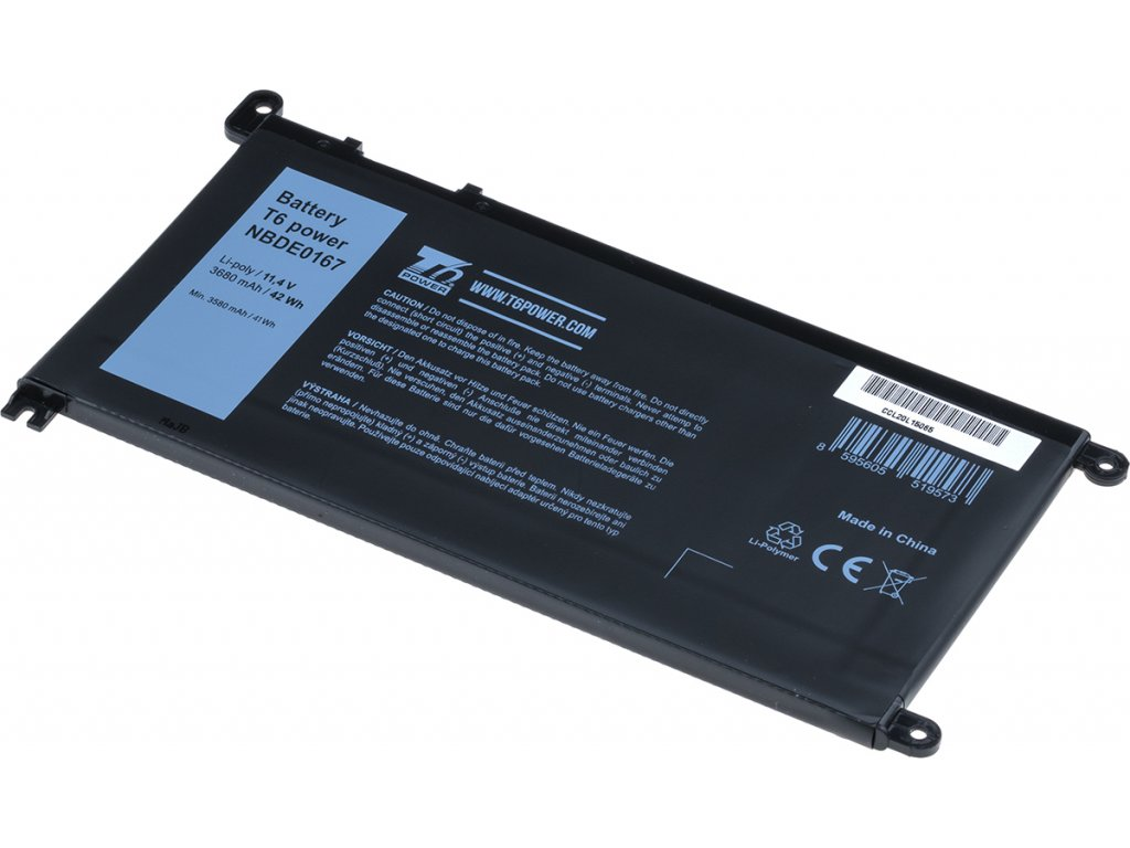 Baterie T6 power Dell Insprion 15 5568, 5578, Vostro 14 5468, 15 5568, 3680mAh, 42Wh, 3cell, Li-ion