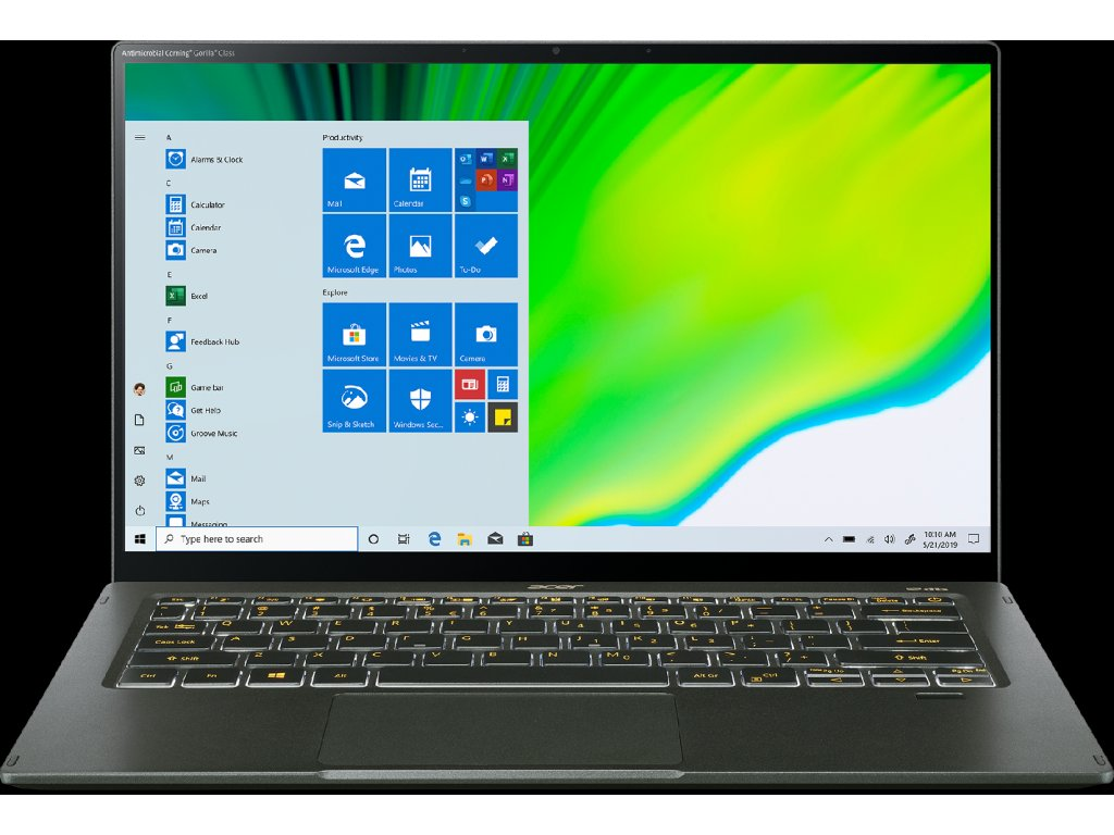 """ACER NTB Swift 5 AS - i7-1165G7@2.80GHz,16GB,1TBSSD,14"""" touch FHD,backl,cam,USB3.2,USB Type-C,W10P,Zelená"""