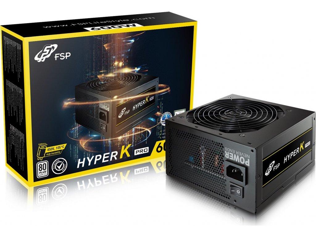Fortron zdroj 600W HYPER K PRO 600 Retail, EN62368, 230V, +12V Dual Rail, A-PFC,12cm