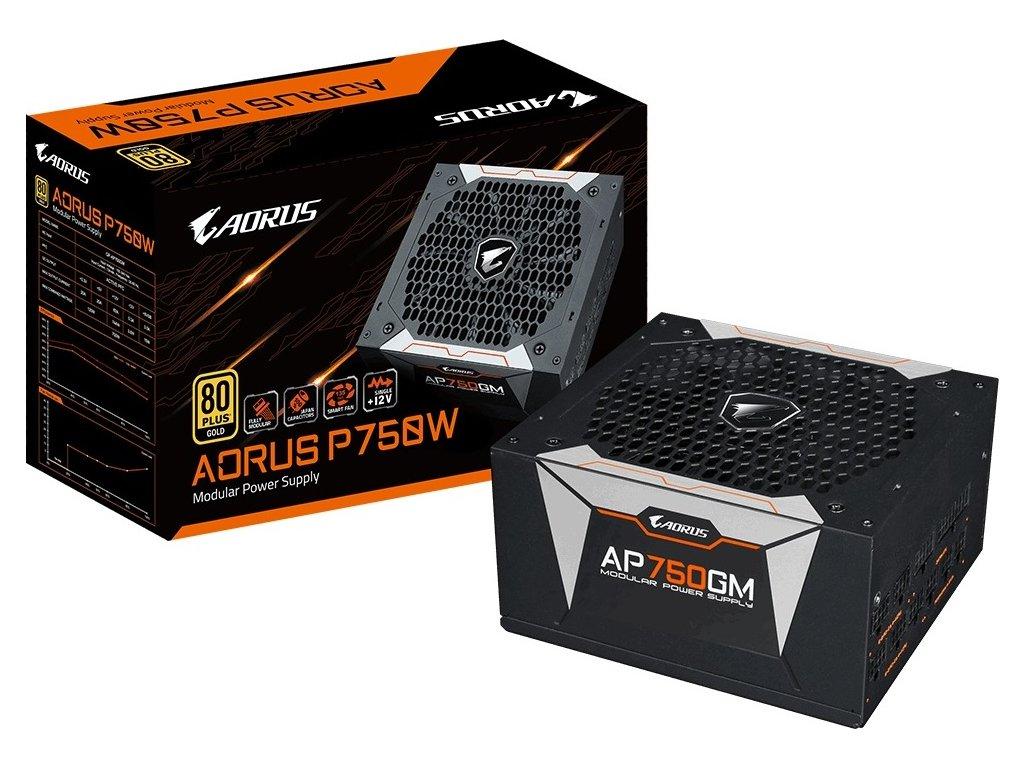 GIGABYTE zdroj AORUS AP750GM, 750W, 80plus gold, modular, 135 mm fan