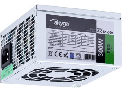 Akyga SFX Zdroj 300W AK-S1-300 P4 2x SATA 2x Molex PFC FAN 8cm