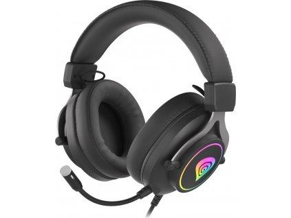 GENESIS herní sluchátka s mikrofonem NEON 750, RGB podsvícení, černé