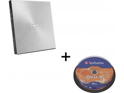 BUNDLE ASUS SDRW-08U7M-U SILVER + 2× M-Disk + Verbatim DVD-R 10cake